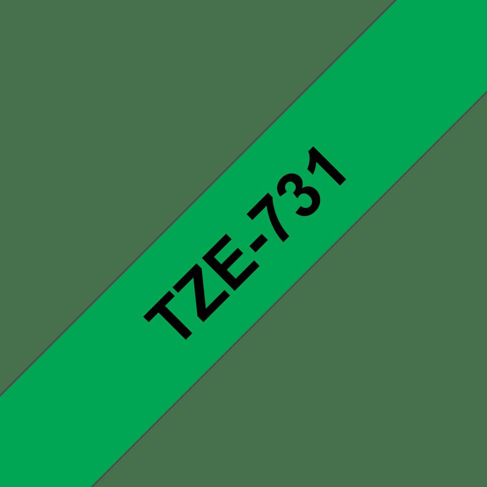 Original Brother TZe731 merketape – sort på grønn, 12 mm bred