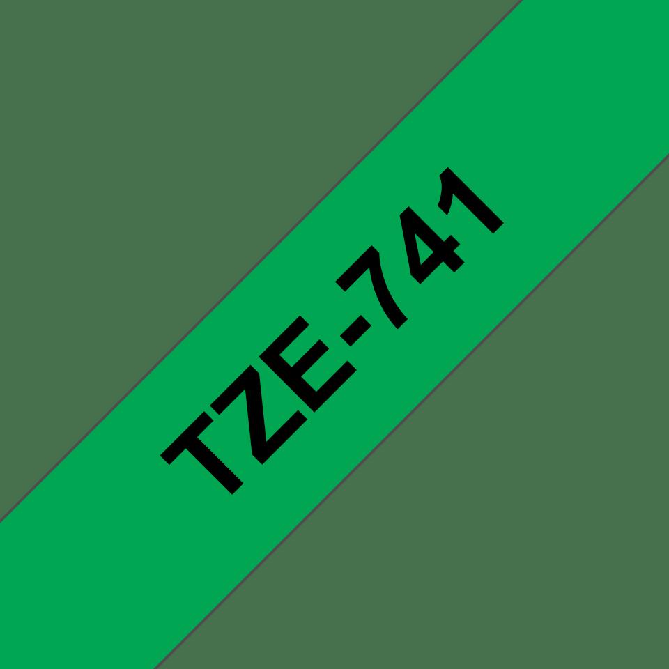Original Brother TZe741 merketape – sort på grønn, 18 mm bred 3