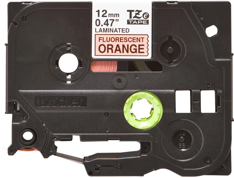 Brother original TZeB31 merketape - sort på fluoriserende oransje, 12 mm bred 2
