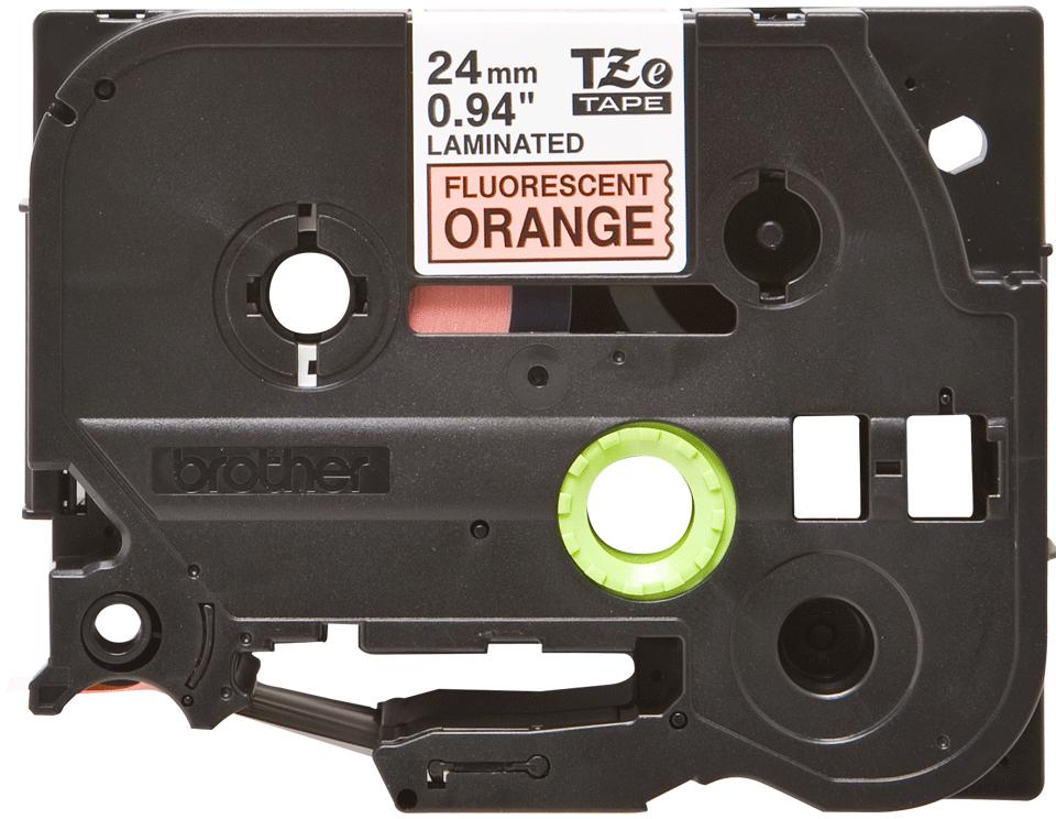 Original Brother TZeB51 merketape – sort på fluorescerende oransje, 24 mm bred 2