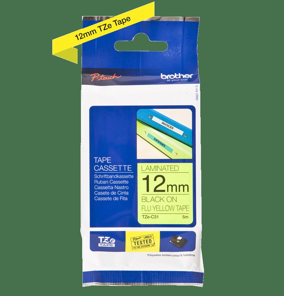 Original Brother TZeC31 merketape – sort på fluorescerende gul, 12 mm bred 2
