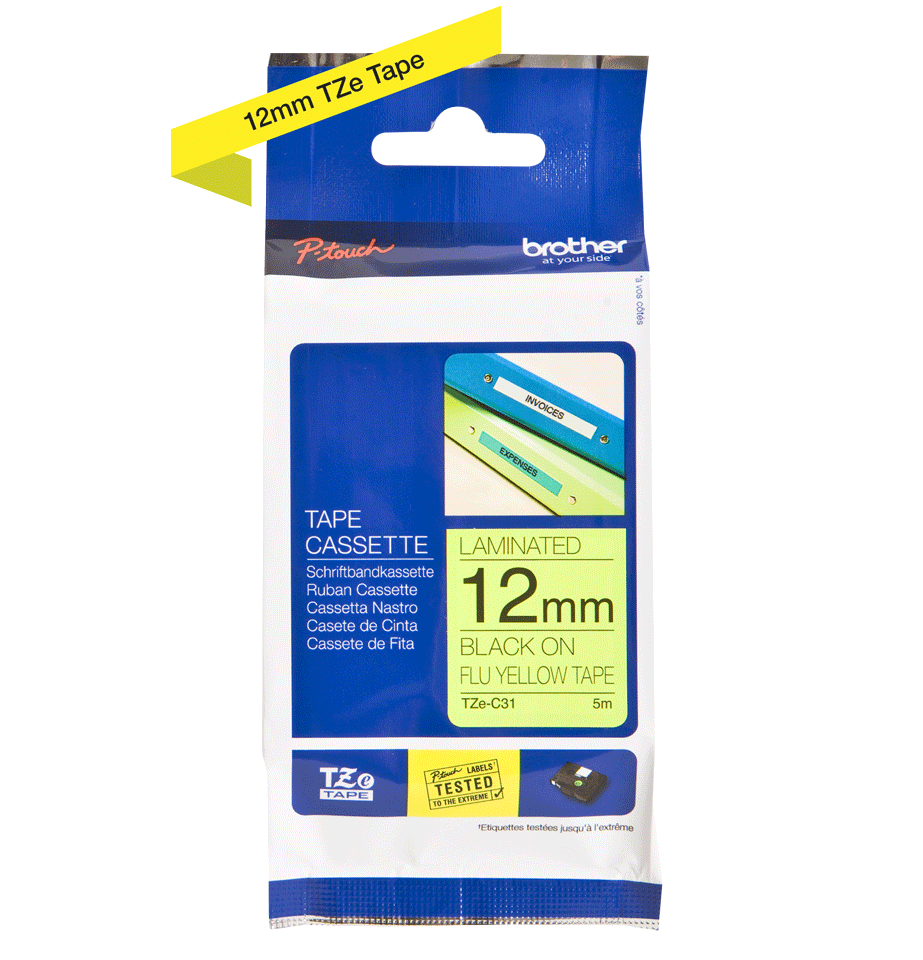 Original Brother TZeC31 merketape – sort på fluorescerende gul, 12 mm bred 3