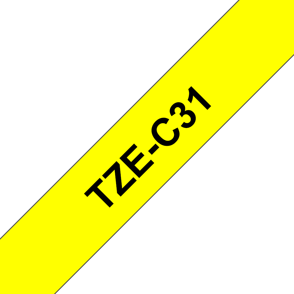 Original Brother TZeC31 merketape – sort på fluorescerende gul, 12 mm bred