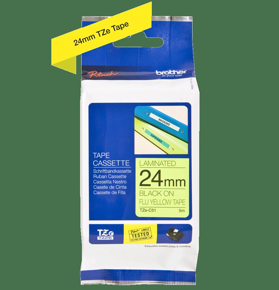 Original Brother TZeC51 merketape – sort på fluorescerende gul, 24 mm bred 3