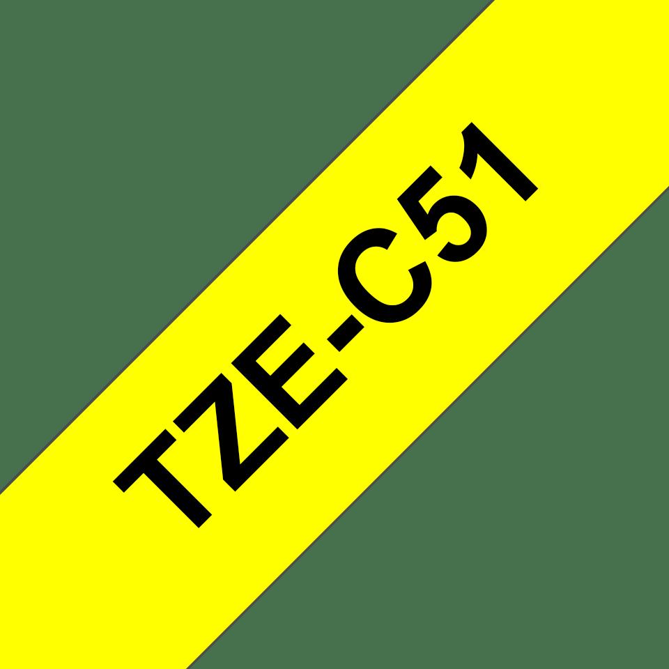 Original Brother TZeC51 merketape – sort på fluorescerende gul, 24 mm bred