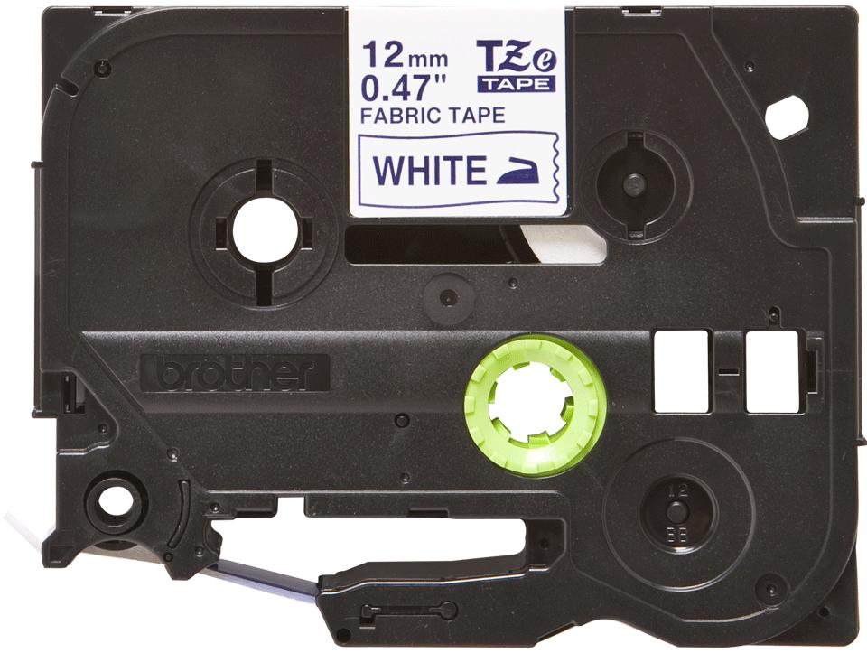 Brother original TZeFA3 tekstiltape - blå på hvit, 12 mm bred 2