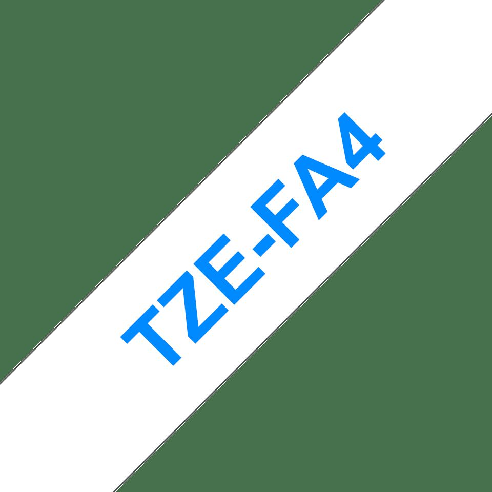 Brother original TZeFA4 tekstiltape - blå på hvit, 18 mm bred