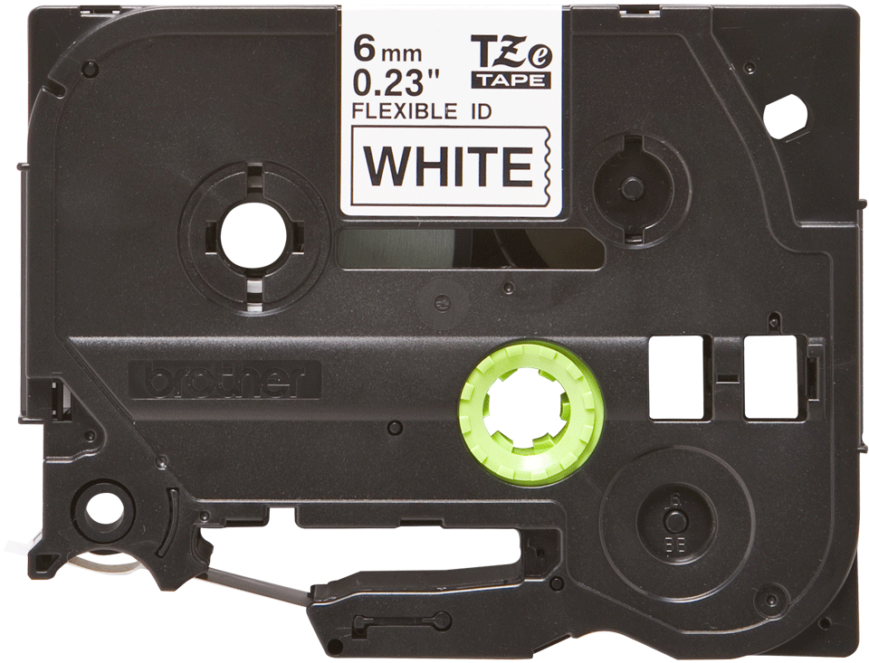Original Brother TZeFX211 fleksibel ID merketape – sort på hvit, 6 mm bred