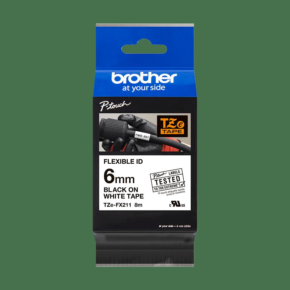 Original Brother TZeFX211 fleksibel ID merketape – sort på hvit, 6 mm bred 2