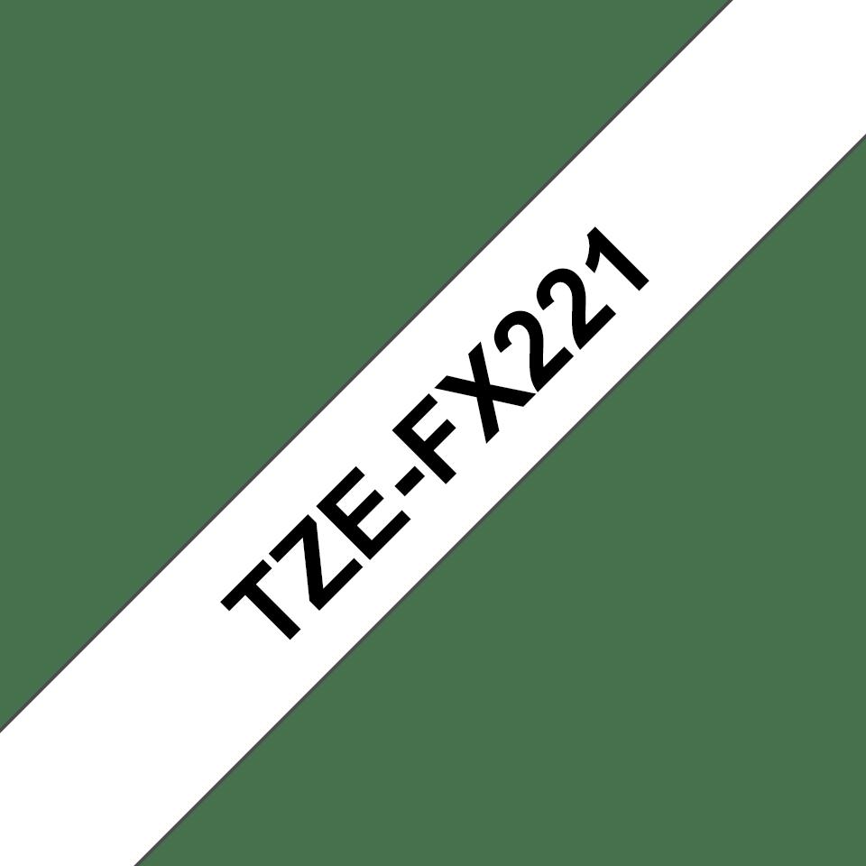 Original Brother TZeFX221 fleksibel ID merketape – sort på hvit, 9 mm bred