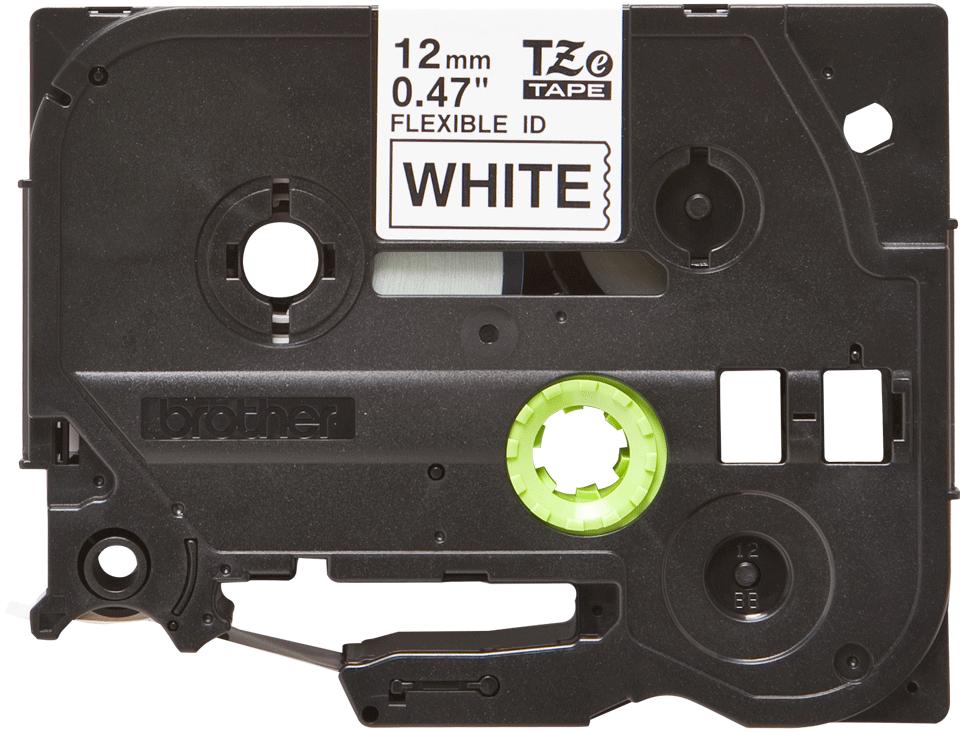 Brother original TZeFX231 fleksibel ID merketape - sort på hvit, 12 mm bred