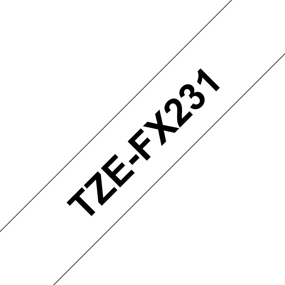 Brother original TZeFX231 fleksibel ID merketape - sort på hvit, 12 mm bred 3
