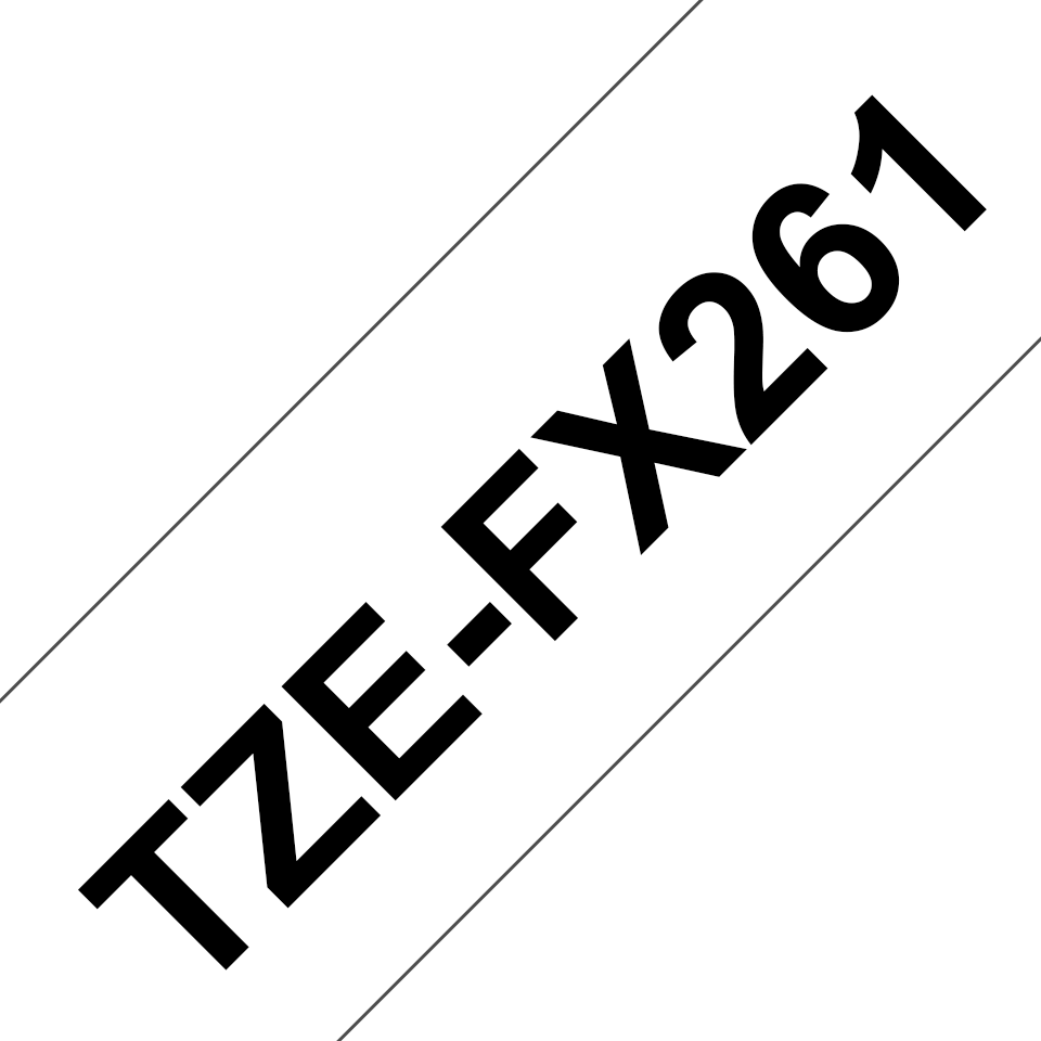 Original Brother TZeFX261 fleksibel ID merketape – sort på hvit, 36 mm bred 3