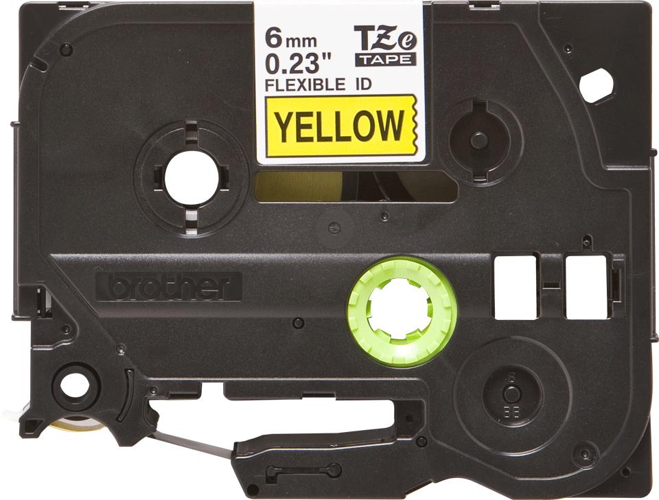 Original Brother TZeFX611 fleksibel ID merketape – sort på gul, 6 mm bred 2