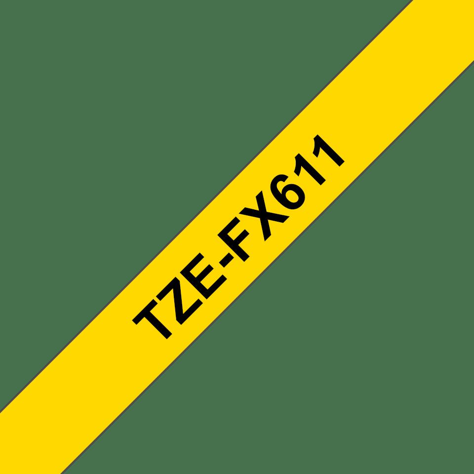 Original Brother TZeFX611 fleksibel ID merketape – sort på gul, 6 mm bred