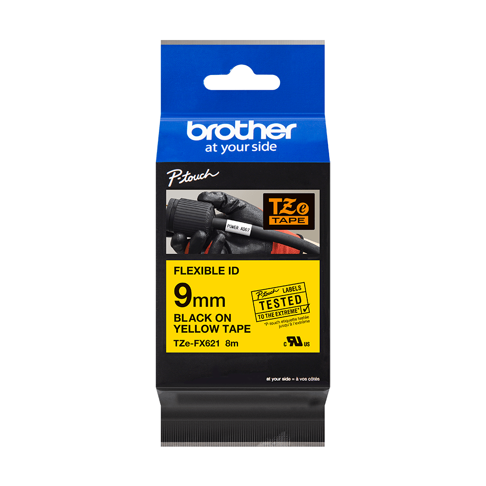 Original Brother TZeFX621 fleksibel ID merketape – sort på gul, 9 mm bred 3