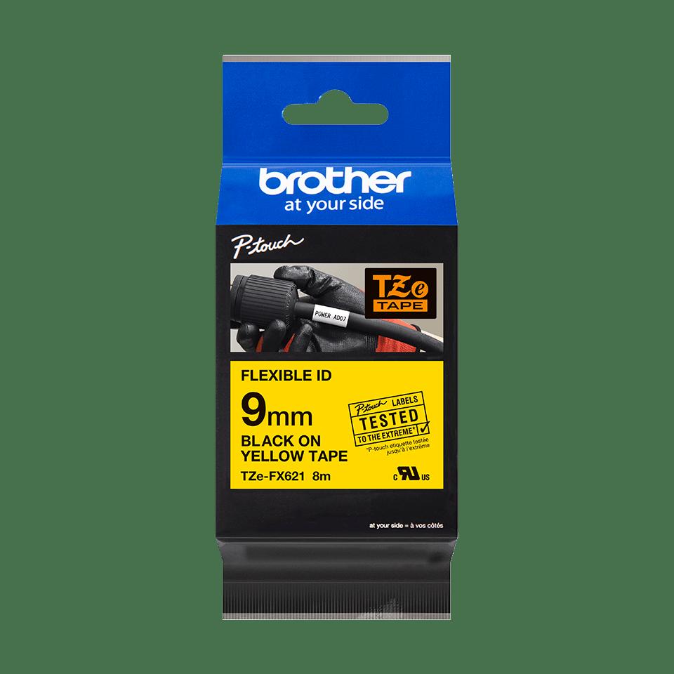 Original Brother TZeFX621 fleksibel ID merketape – sort på gul, 9 mm bred 3