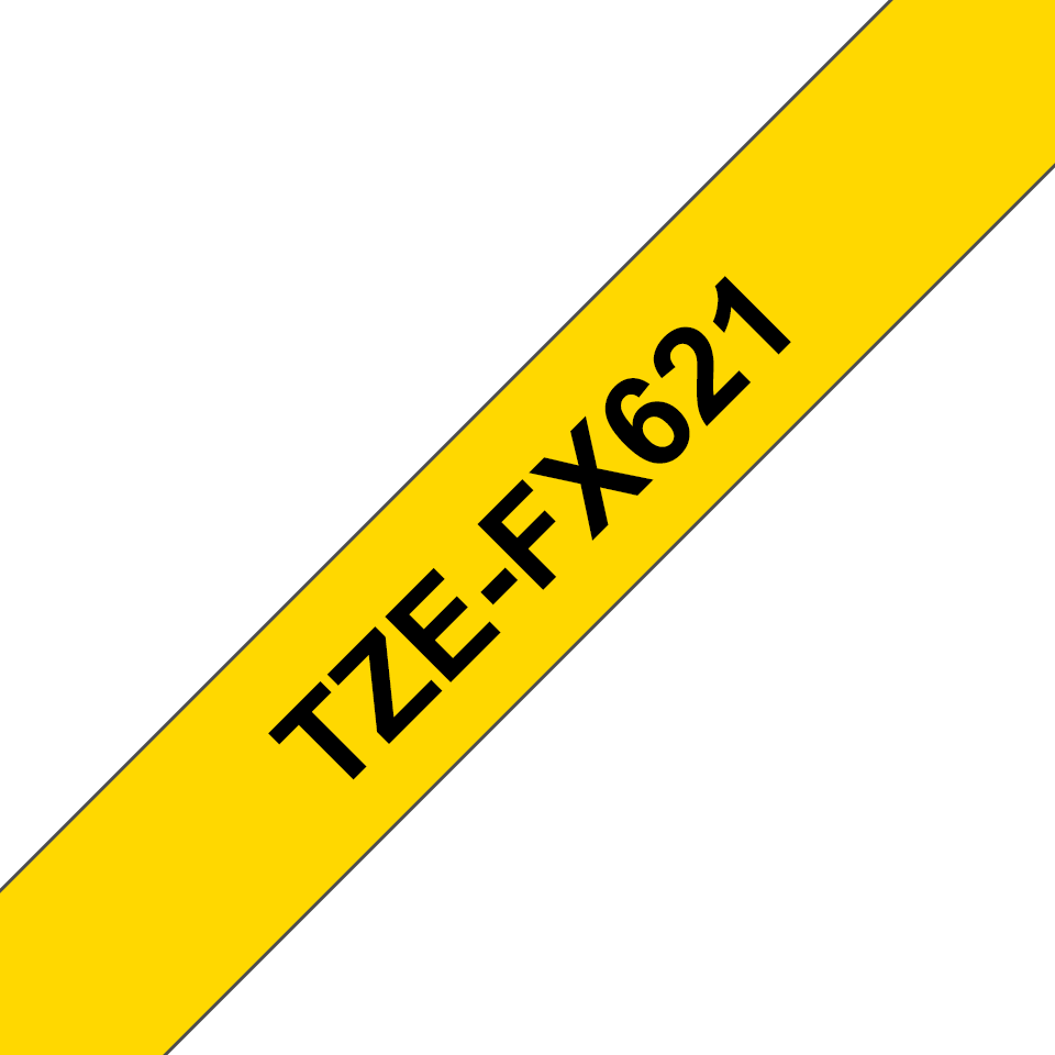 Original Brother TZeFX621 fleksibel ID merketape – sort på gul, 9 mm bred