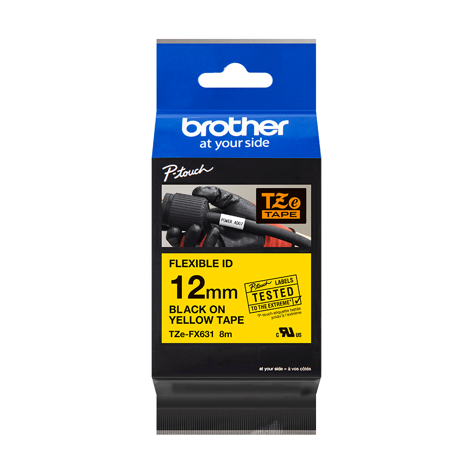 Original Brother TZeFX631 fleksibel ID merketape – sort på gul, 12 mm bred 3