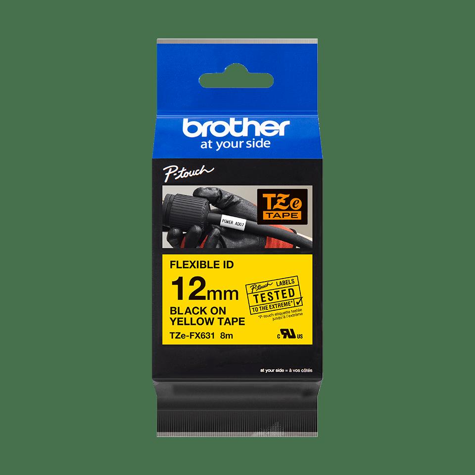 Original Brother TZeFX631 fleksibel ID merketape – sort på gul, 12 mm bred 3