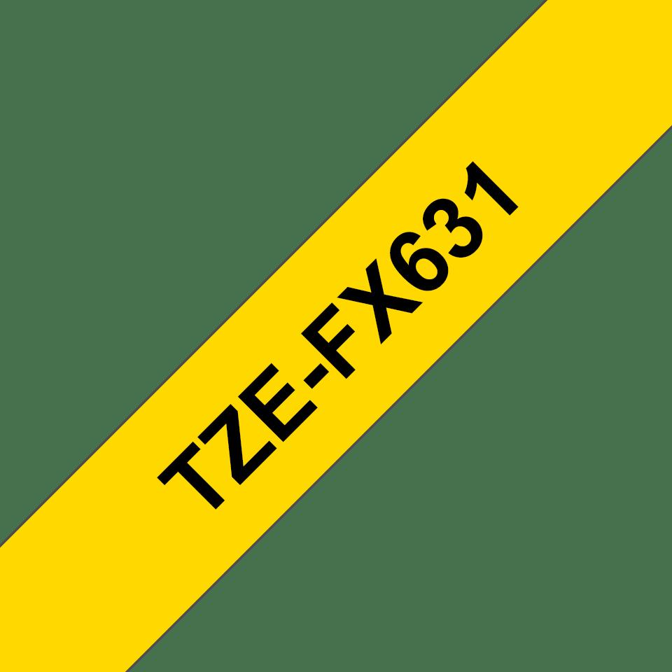 Original Brother TZeFX631 fleksibel ID merketape – sort på gul, 12 mm bred