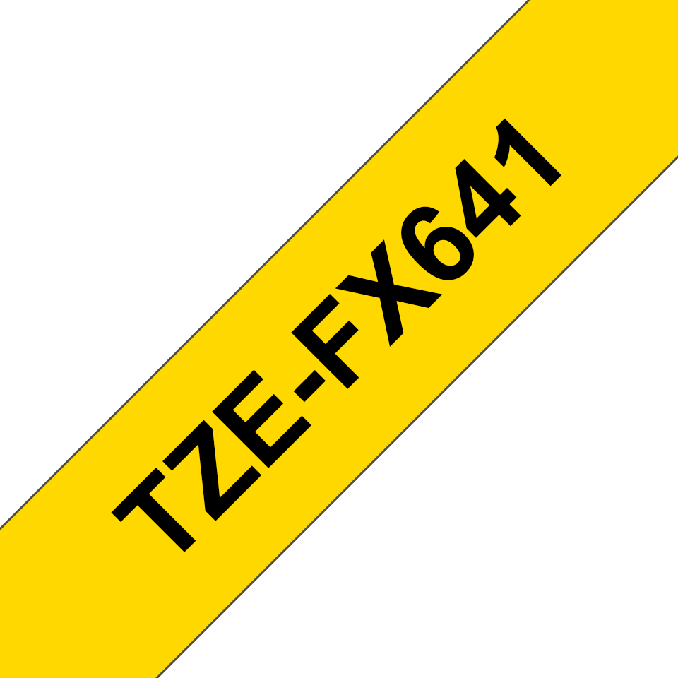 Original Brother TZeFX641 fleksibel ID merketape – sort på gul, 18 mm bred