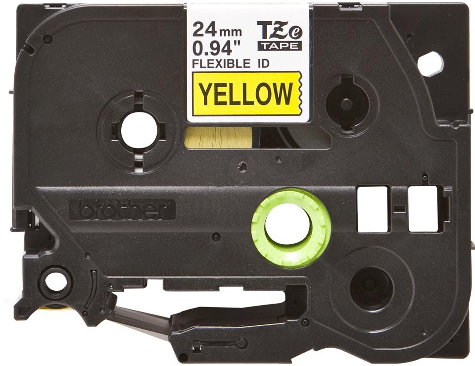 Brother original TZeFX651 laminert fleksibel ID merketape- sort på gul, 24 mm bred