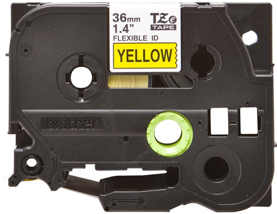 Original Brother TZeFX661 fleksibel ID merketape – sort på gul, 36 mm bred 2