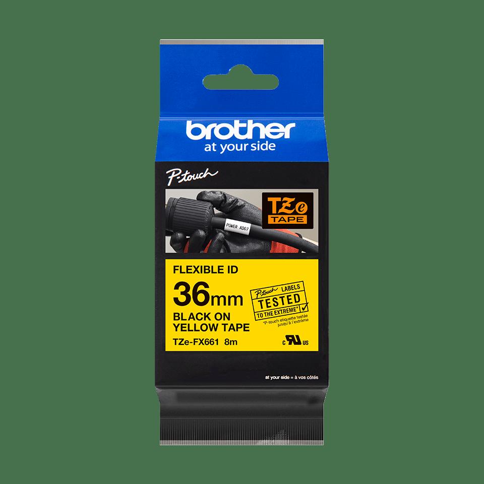 Original Brother TZeFX661 fleksibel ID merketape – sort på gul, 36 mm bred 3