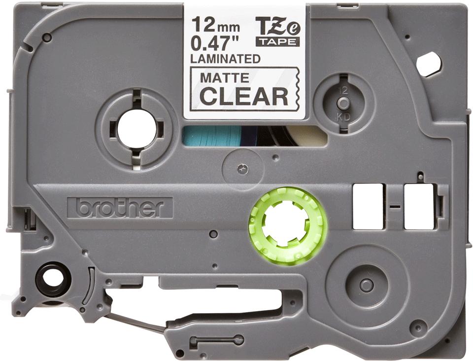 Original Brother TZeM31 merketape – sort på klar matt, 12 mm bred 2