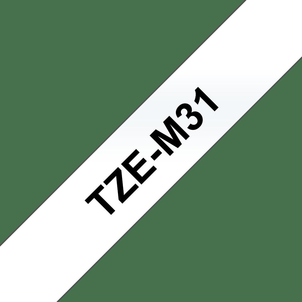 Original Brother TZeM31 merketape – sort på klar matt, 12 mm bred