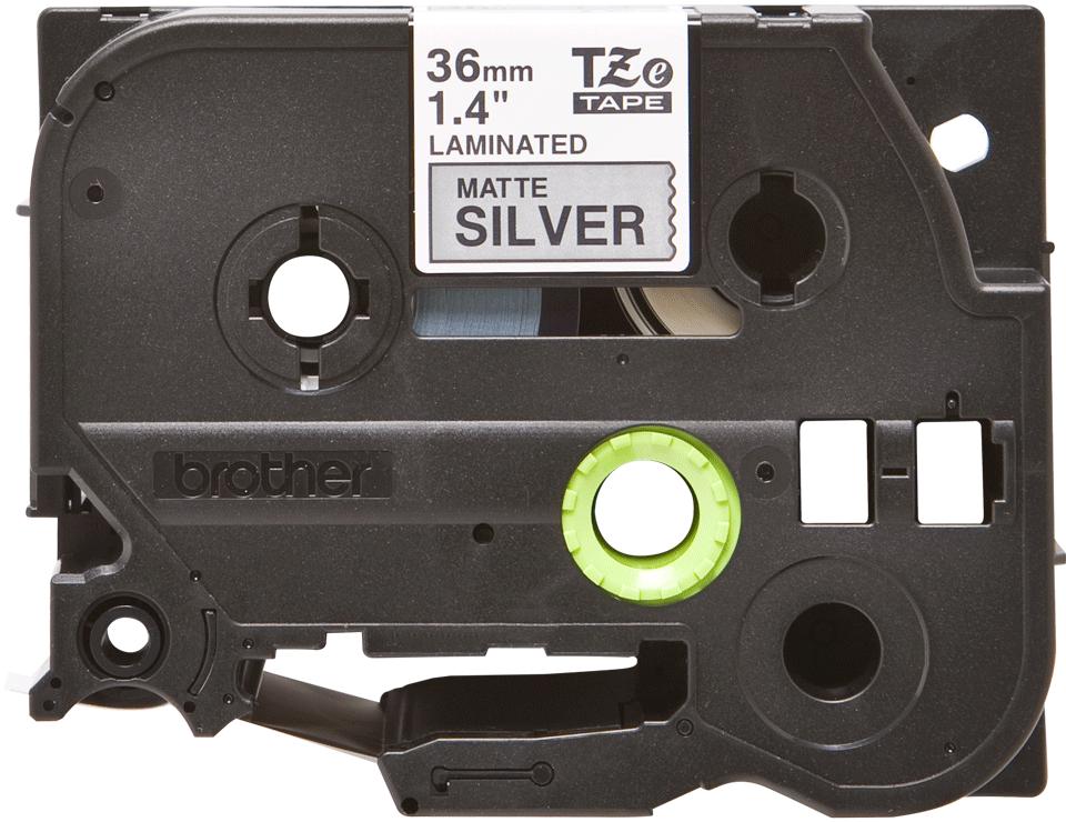 Original Brother TZeM961 merketape – sort på matt sølv, 36 mm bred 2
