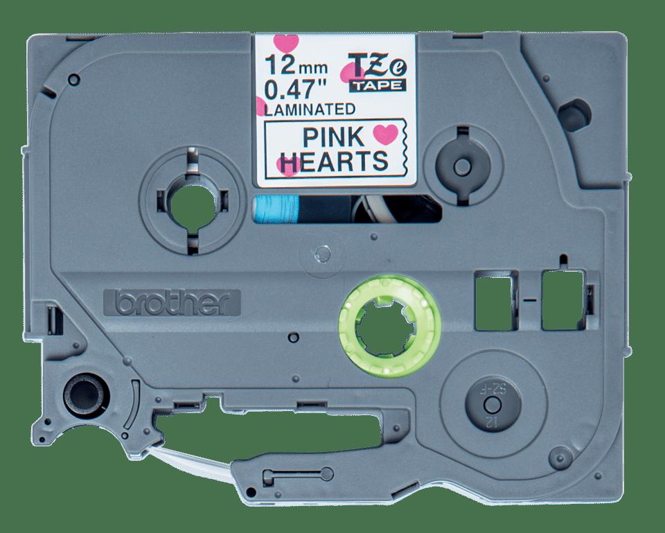 Brother original TZeMPPH31merketape - sort tekst på matt hvit bunn med rosa hjertemønster, 12 mm bred 2