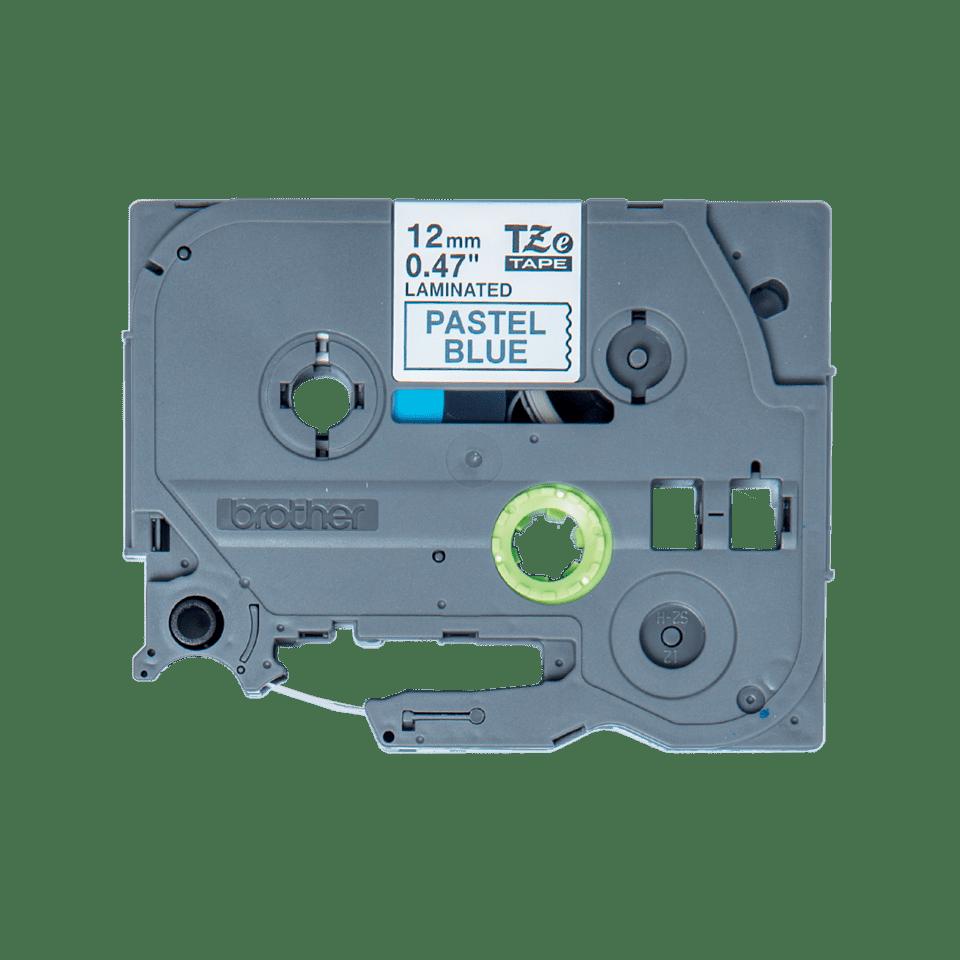 Brother original TZeMQ531 laminert merketape - sort på pastellblå, 12 mm bred