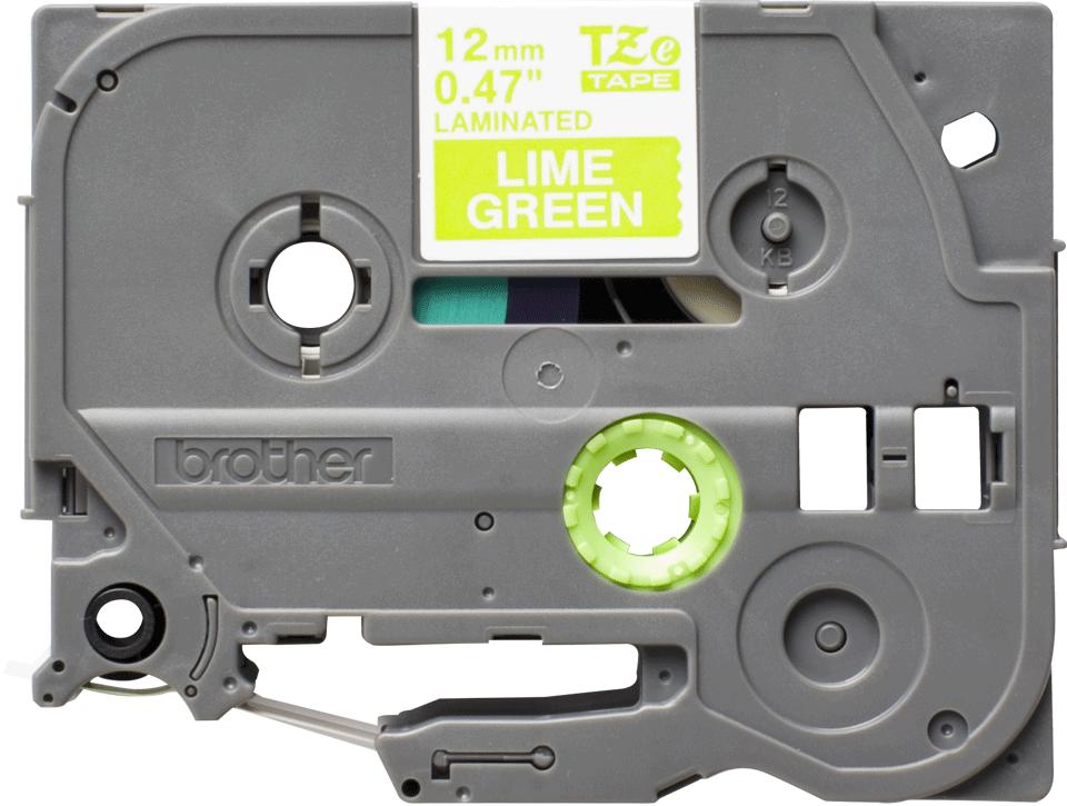 Original Brother TZeMQG35 merketape – hvit på limegrønn, 12 mm bred