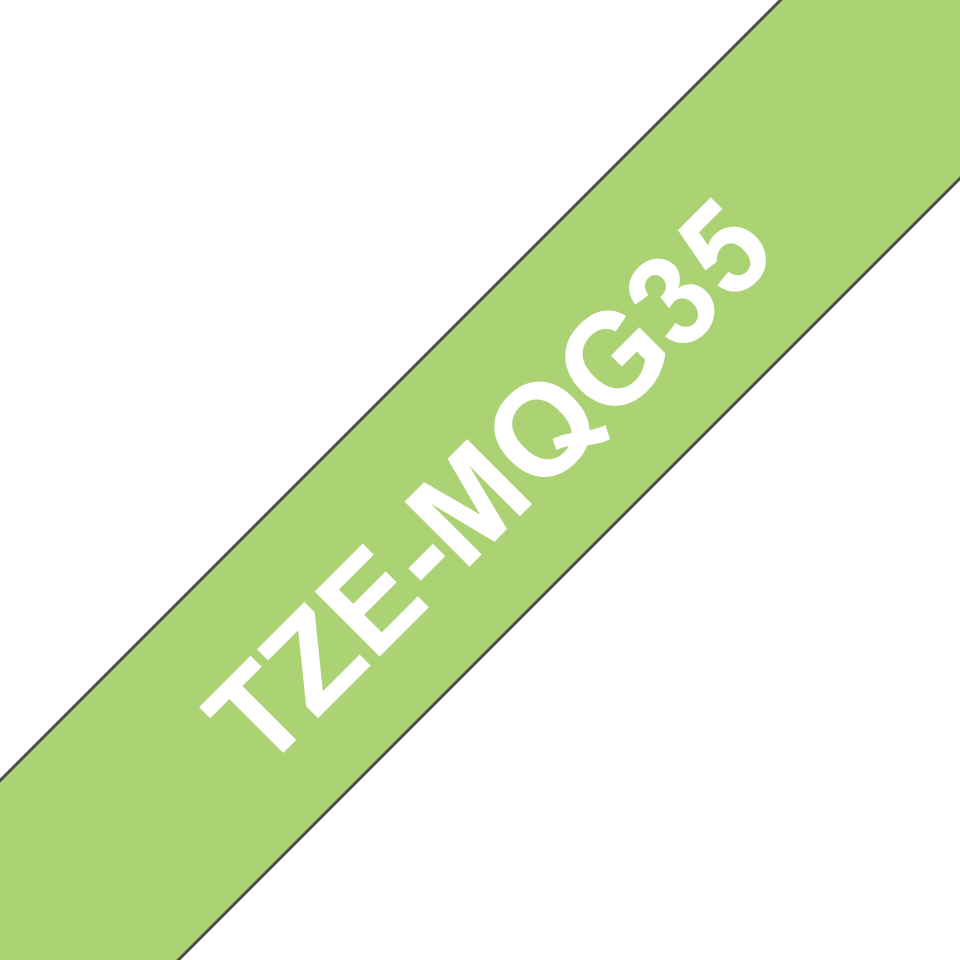 Original Brother TZeMQG35 merketape – hvit på limegrønn, 12 mm bred 3