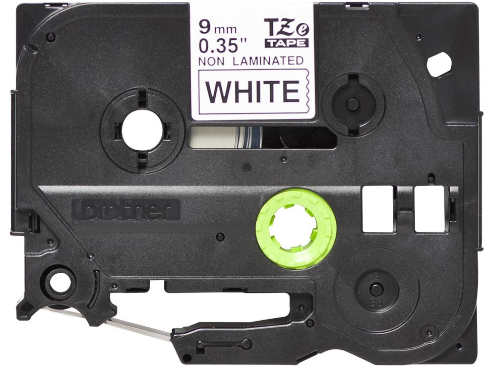 Original Brother TZeN221 ulaminert merketape – sort på hvit, 9 mm bred 2