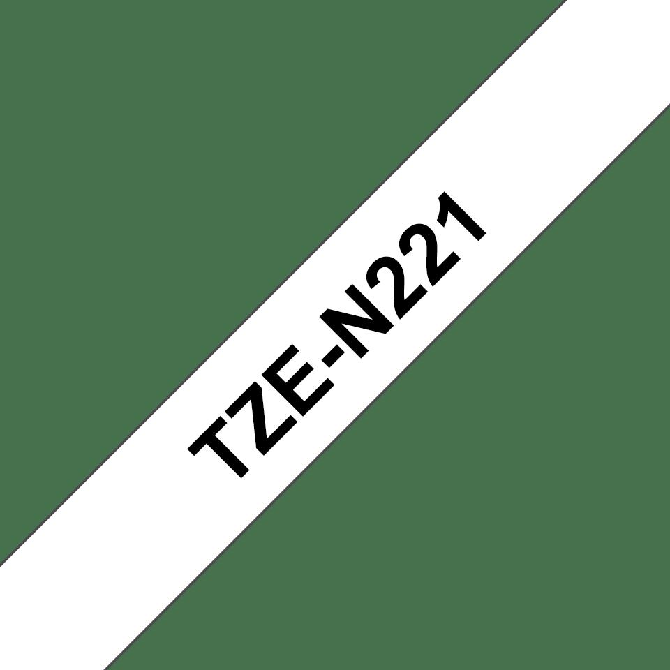 Original Brother TZeN221 ulaminert merketape – sort på hvit, 9 mm bred