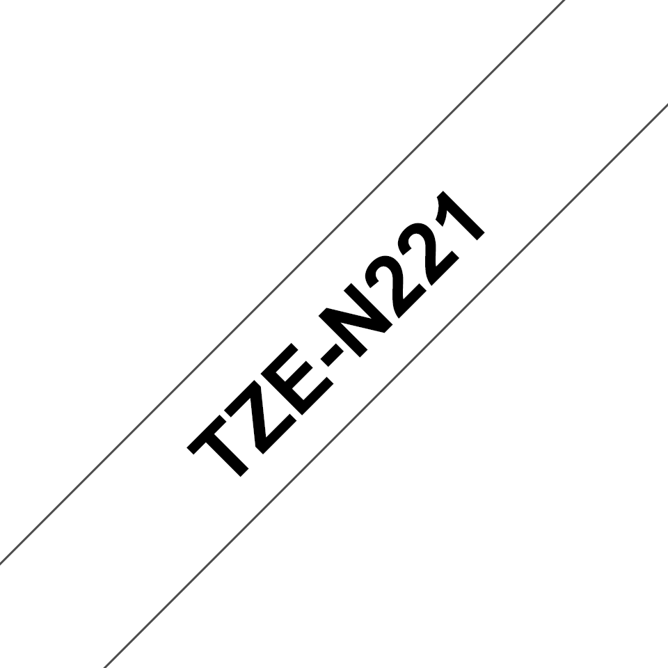 Original Brother TZeN221 ulaminert merketape – sort på hvit, 9 mm bred 3