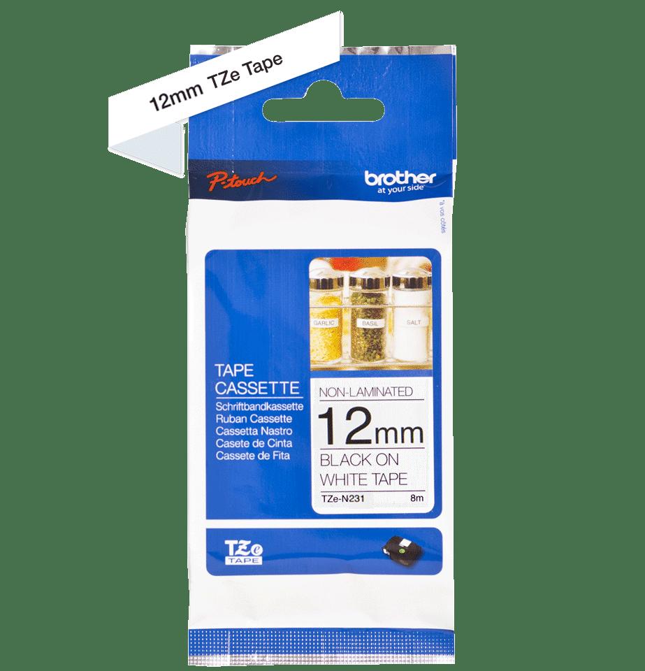 Brother original TZeN231 merketape - sort på hvit ulaminert tape, 12 mm bred 3