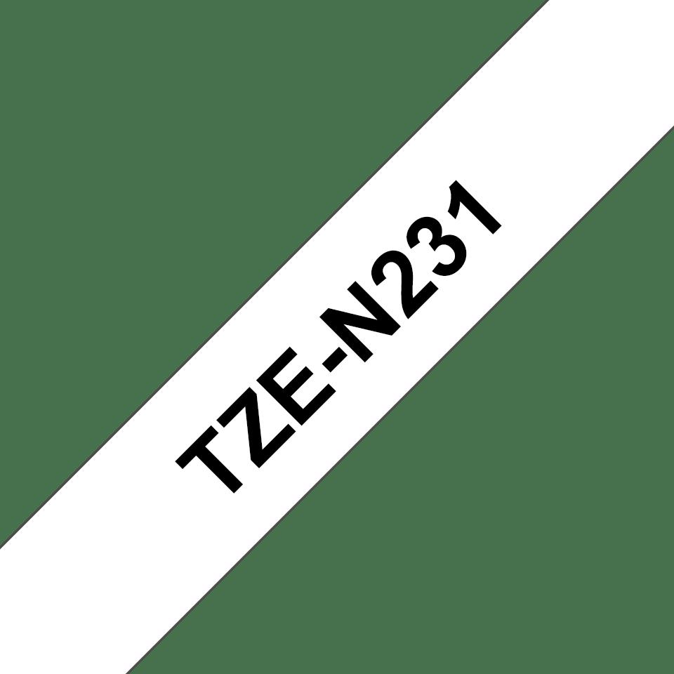 Brother original TZeN231 merketape - sort på hvit ulaminert tape, 12 mm bred