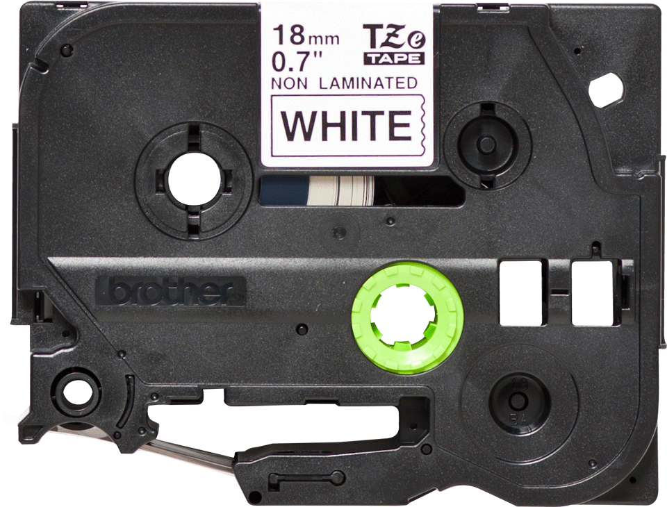 Original Brother TZeN241 ulaminert merketape – sort på hvit, 18 mm bred 2