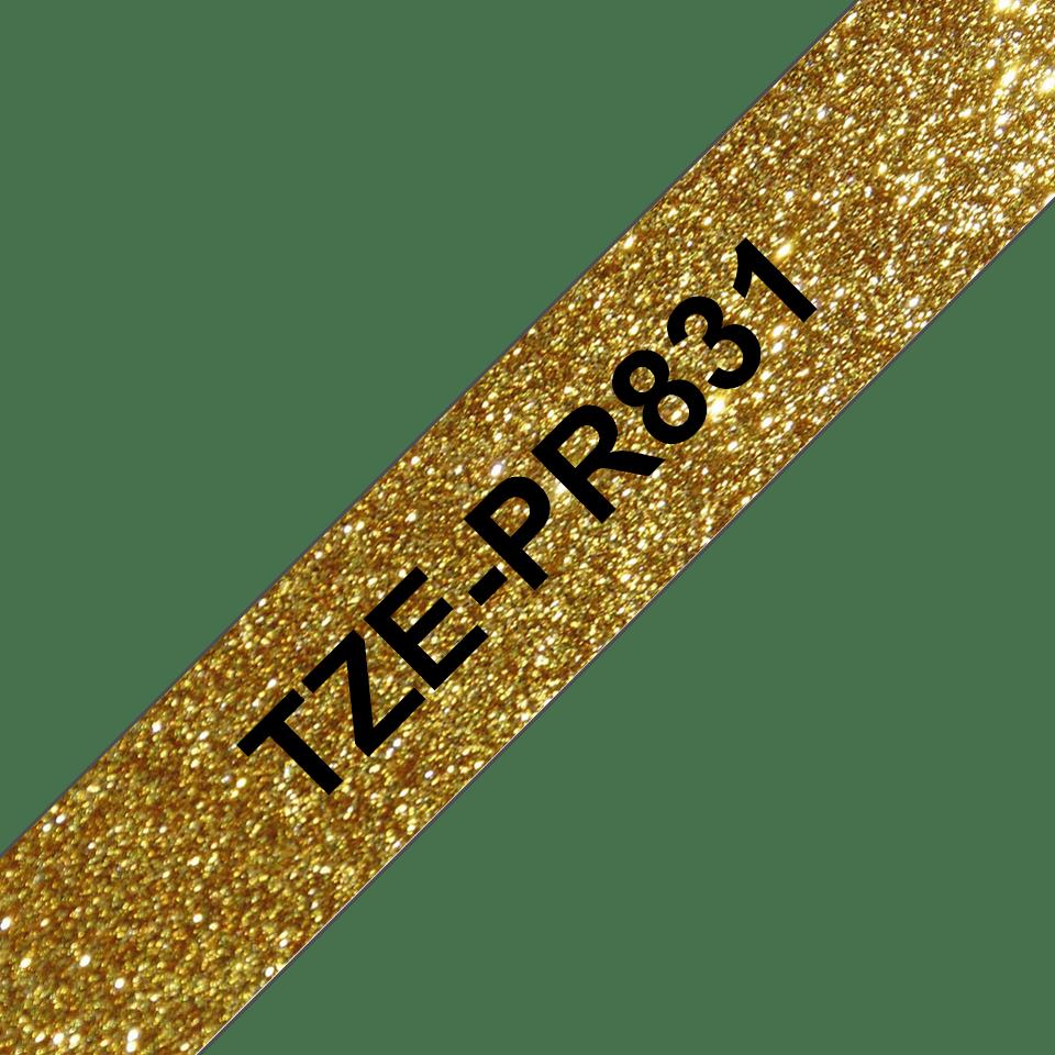 Original Brother TZePR831 merketape -  sort på glitrende gull, 12 mm bred