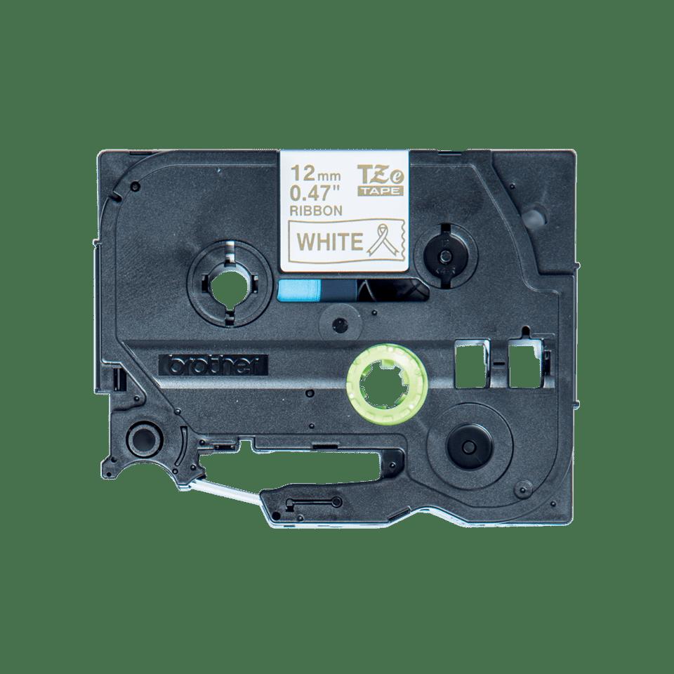 Original Brother TZeR234 silkebånd – gull på hvitt, 12mm bred 2