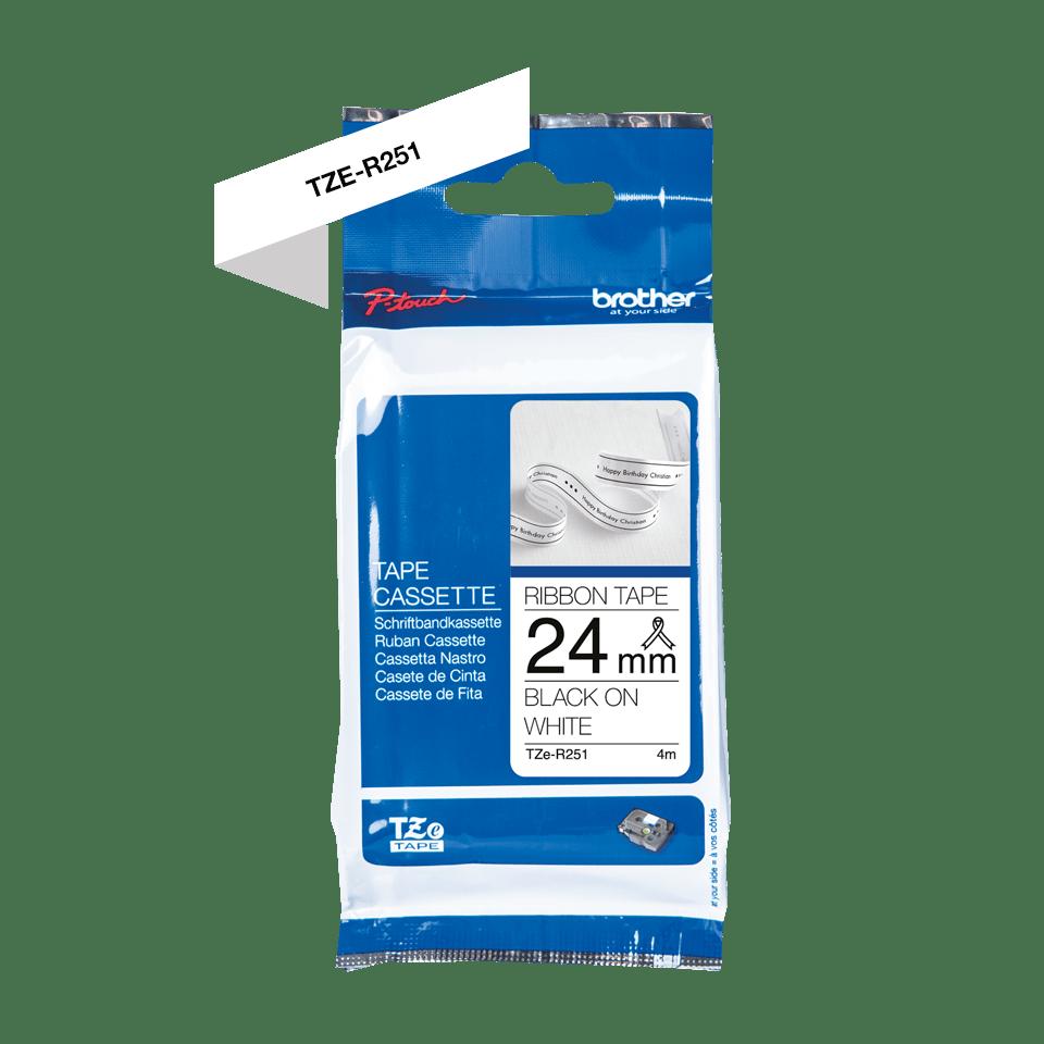 Originalt Brother TZeR251 silkebånd – sort på hvitt, 24 mm bred 2