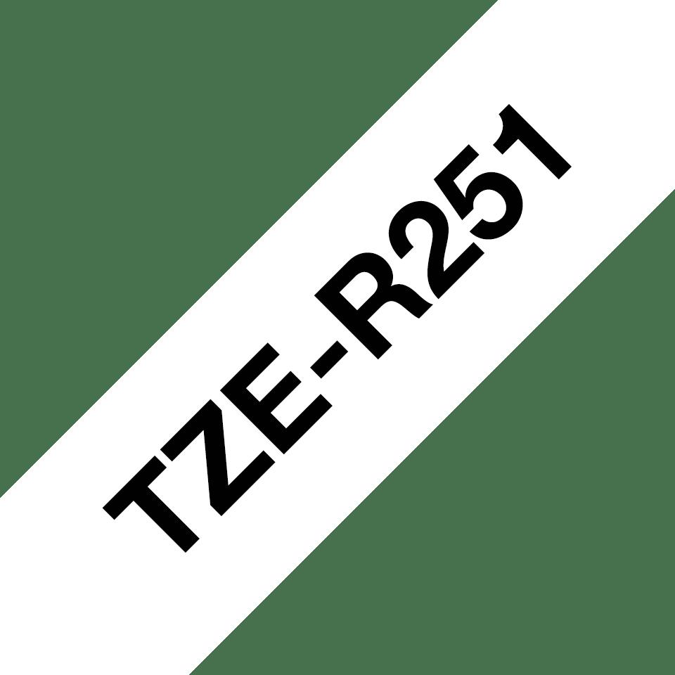 Originalt Brother TZeR251 silkebånd – sort på hvitt, 24 mm bred 3