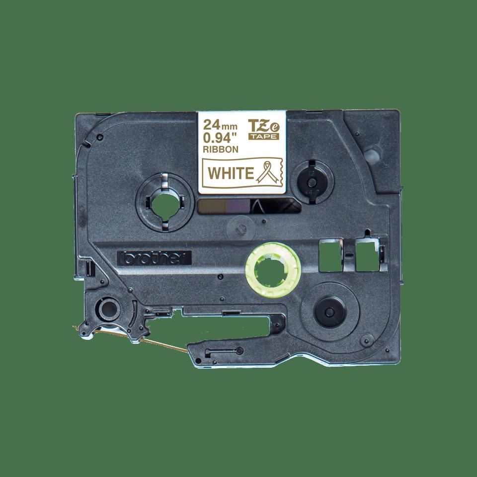 Originalt Brother TZeR254 silkebånd – gull på hvitt, 24 mm bred 4