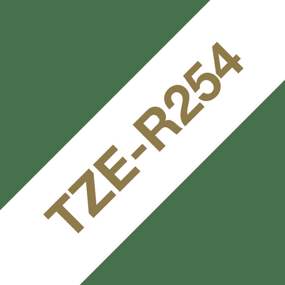 Originalt Brother TZeR254 silkebånd – gull på hvitt, 24 mm bred 6