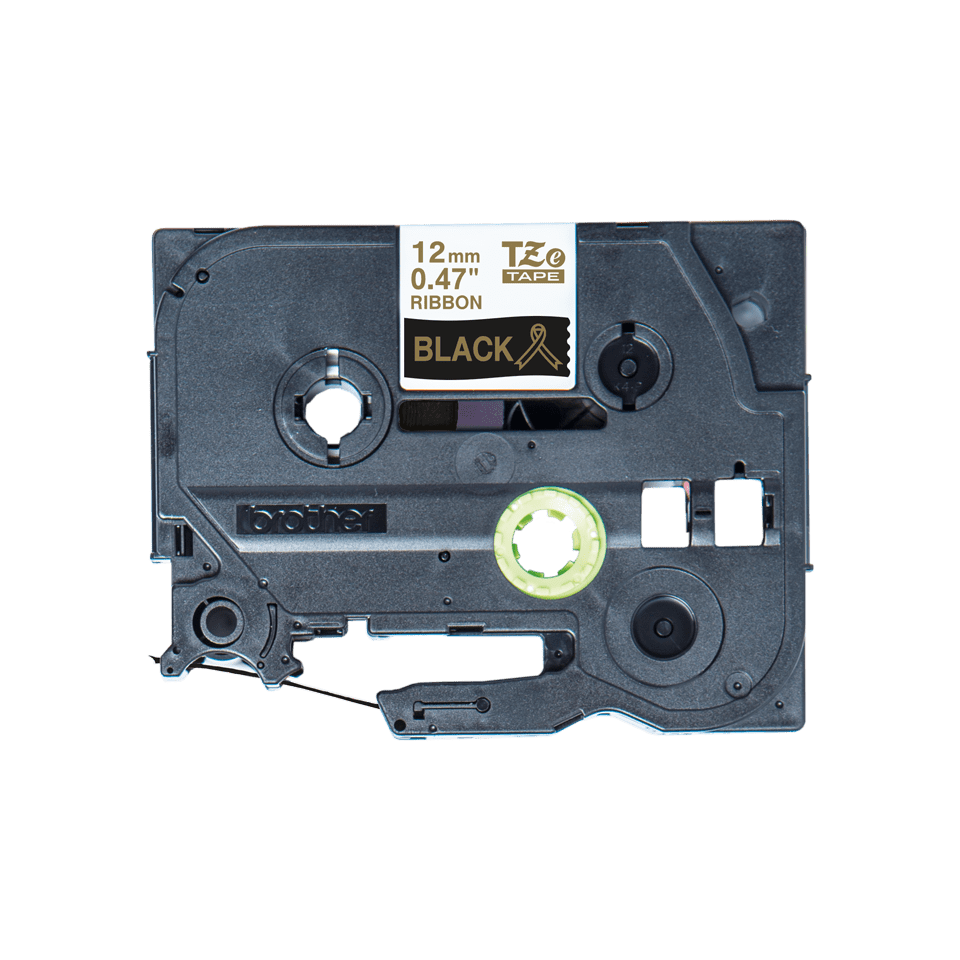 Originalt Brother TZeR334 silkebånd – gull på sort, 12 mm bred