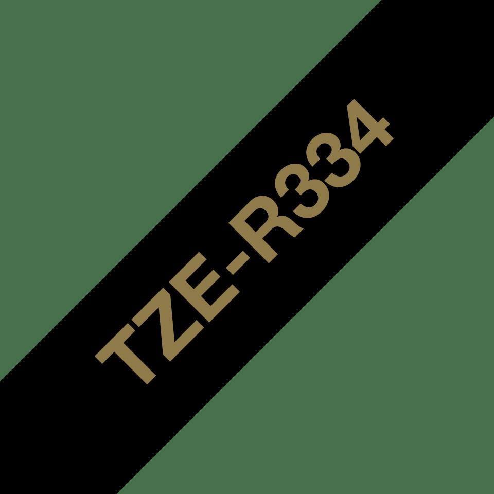 Originalt Brother TZeR334 silkebånd – gull på sort, 12 mm bred 3